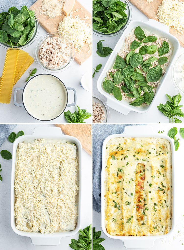 A collage of photos how to make white chicken lasagna.