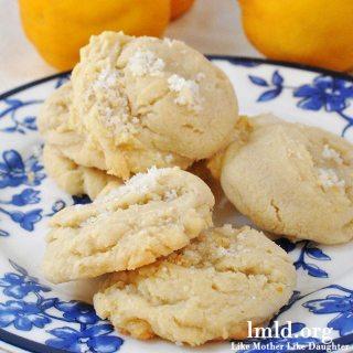 A sweet but tart lemon cookie sprinkled with lemon zest sugar.