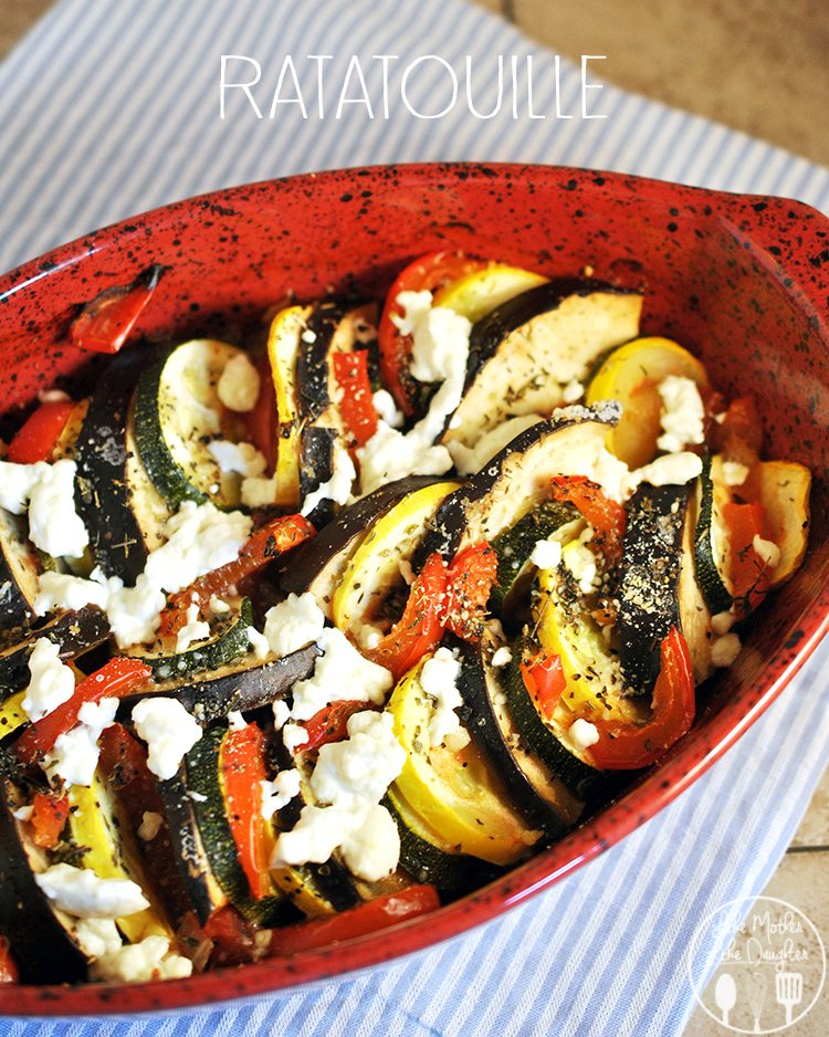 Ratatouille - a simple and delicious vegetarian dish full of tasty vegetables with a delicious tomato sauce and topped with goat cheese!
