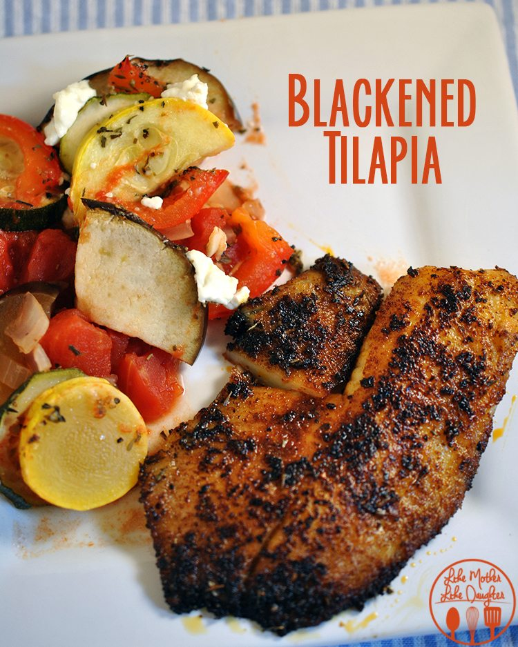 >Blackened Tilapia is coated in an easy homemade cajun style spice rub for a flavorful tilapia recipe you'll love!