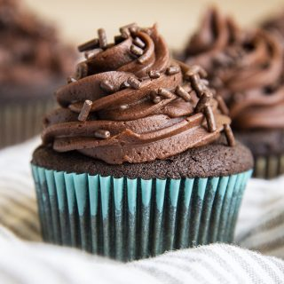 A chocolate cupcake with chocolate frosting, and chocolate jimmies on top.