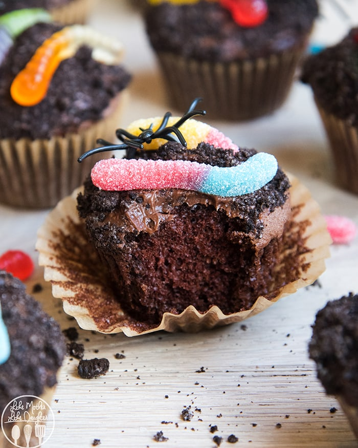 Dirt Chocolate Cupcakes with gummy worms on top