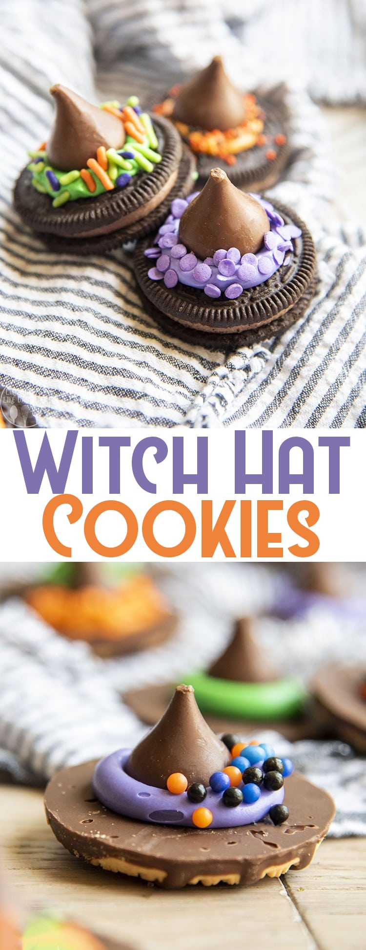 These adorable witch hat cookies are so perfect for celebrating Halloween! They're only four ingredients and so adorable to make and eat!