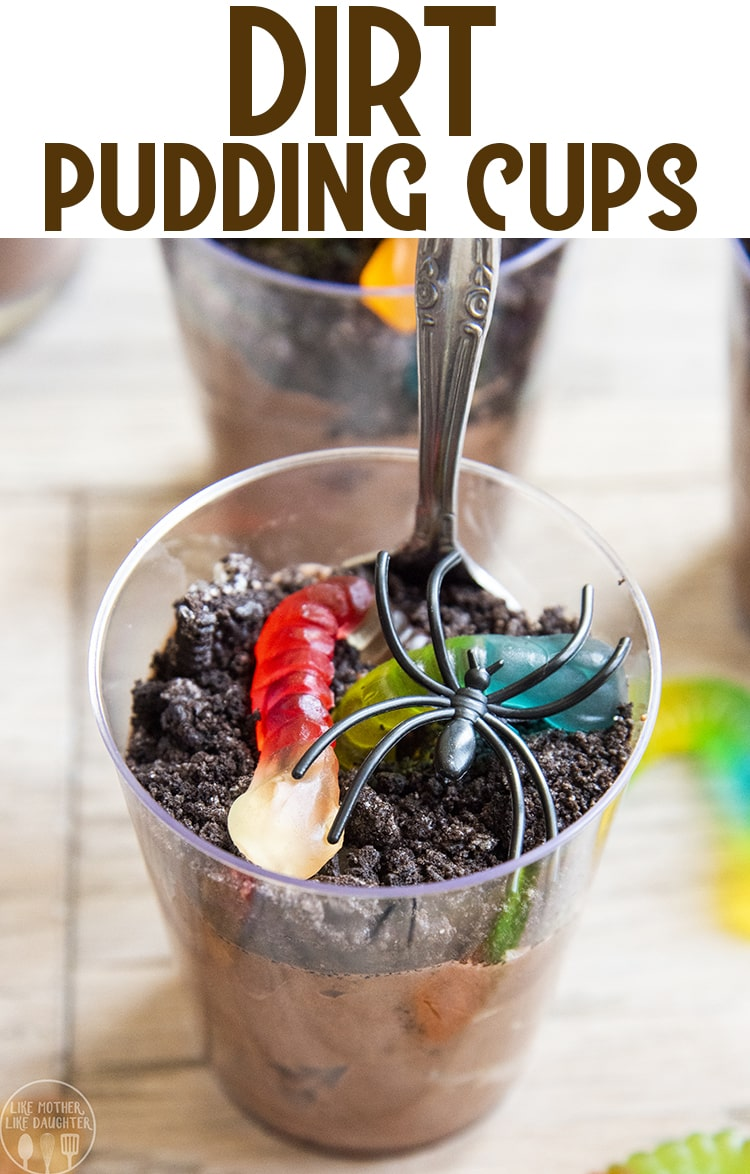 Dirt Pudding Cups are such an easy dessert with layers of pudding, crushed up cookies, and creepy crawly gummy worms on top. They're perfect for Halloween, or fun in the spring too.