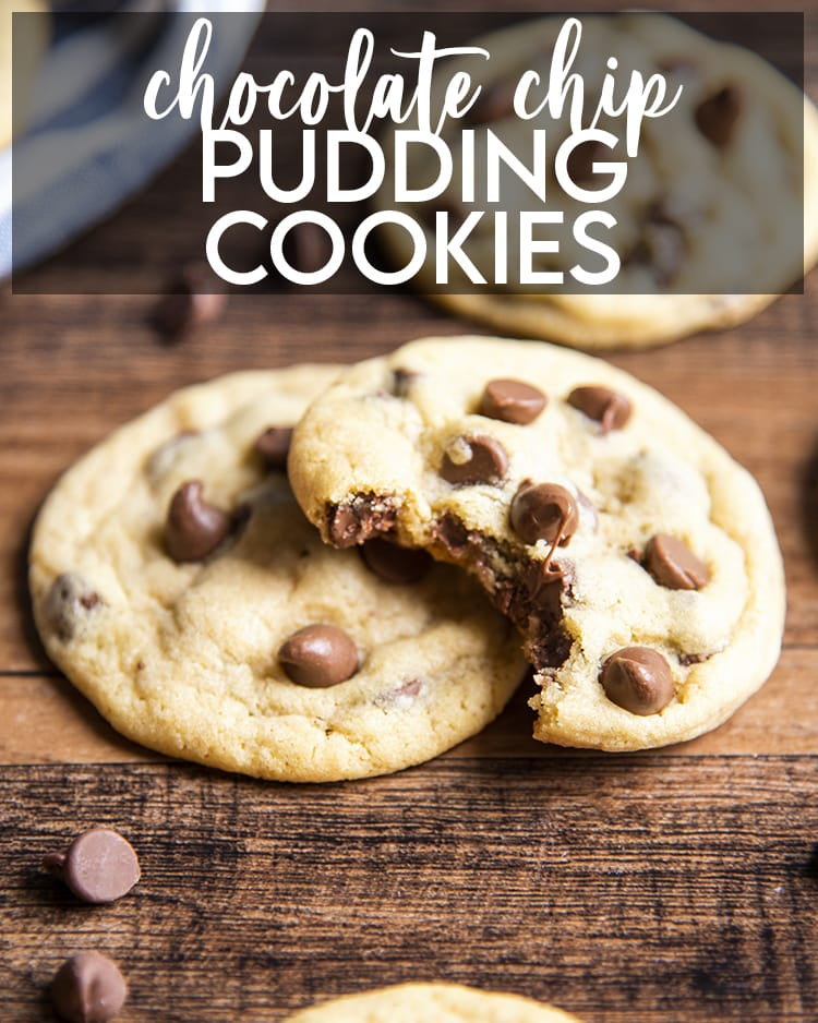 Two Chocolate Chip Pudding Cookies with a bite out of one with a text overlay for pinterest.