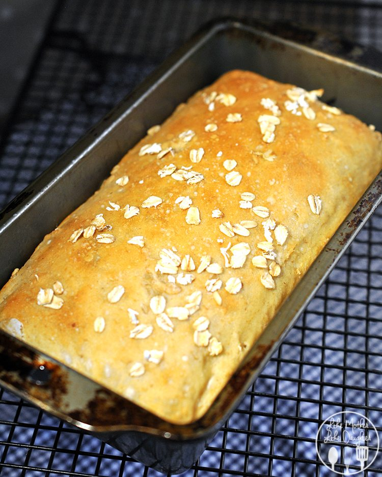 Whole oats and ground oats baked together to make a delicious oat bread. Drizzle with honey and butter or enjoy in a sandwich for lunch.