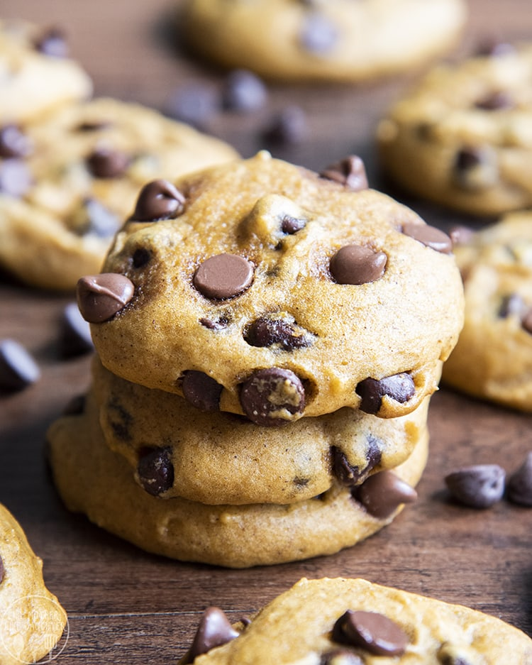 A stack of pumpkin chocolate chip cookies