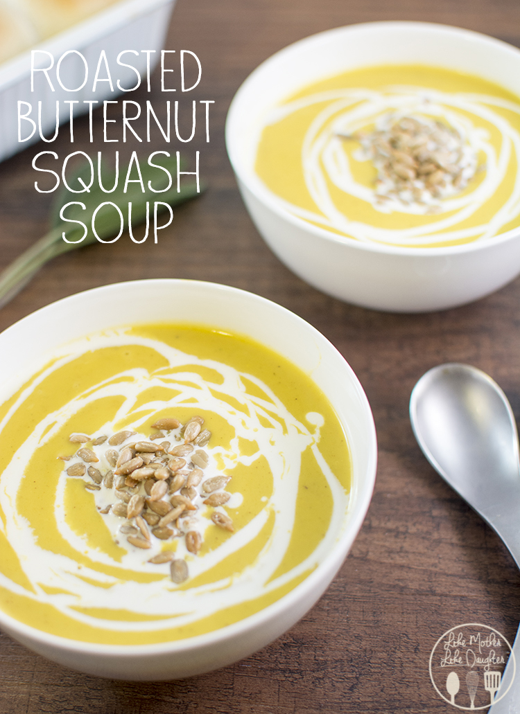 Roasted butternut squash soup - this soup has a perfect blend of flavors, a tiny bit sweet, a bit savory and all bits delicious. This is the best butternut squash soup I've ever had!