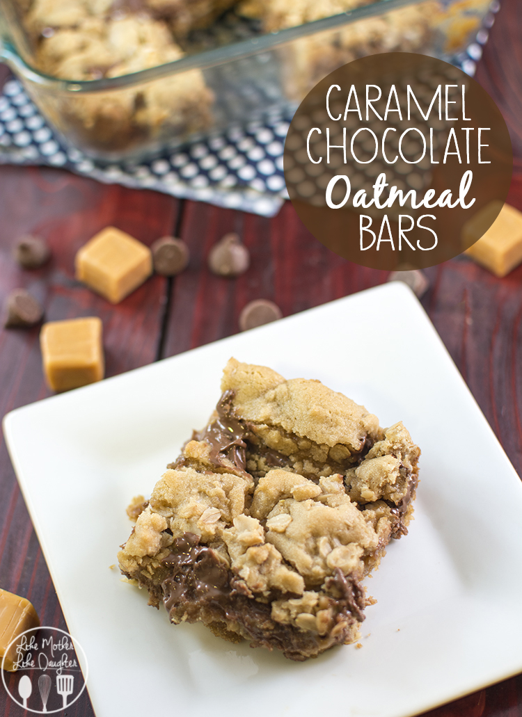 Caramel Chocolate Oatmeal Bars - Delicious and chewy caramel chocolate oatmeal bars are a perfect treat for any time.