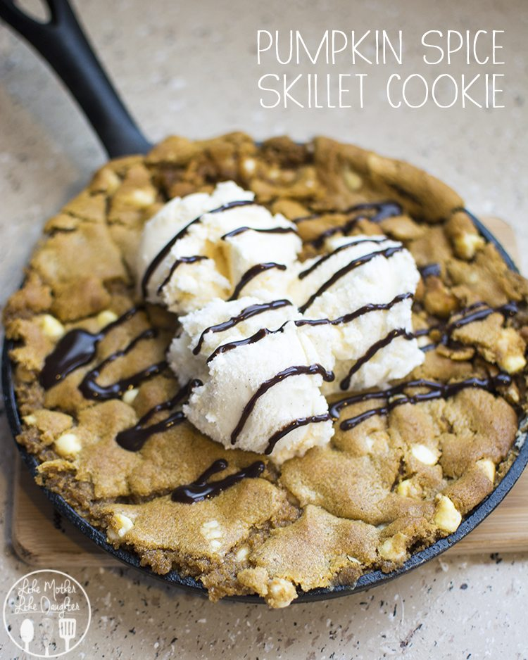 Pumpkin Spice Skillet Cookie - an easy 2 ingredient dessert that is ready in 15 minutes for the perfect fall treat!