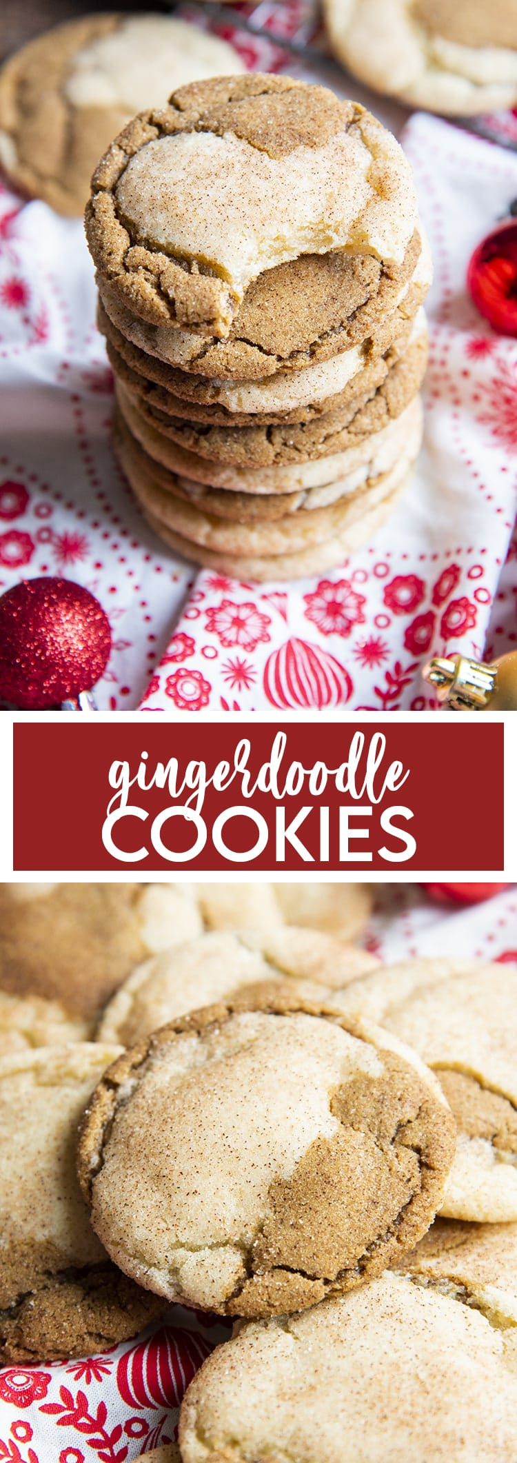 A collage of two photos of gingerdoodle cookies. The first is a stack of cookies, with the top one has a bite taken out. Then a text overlay for pinterest. Then a pile of cookies.