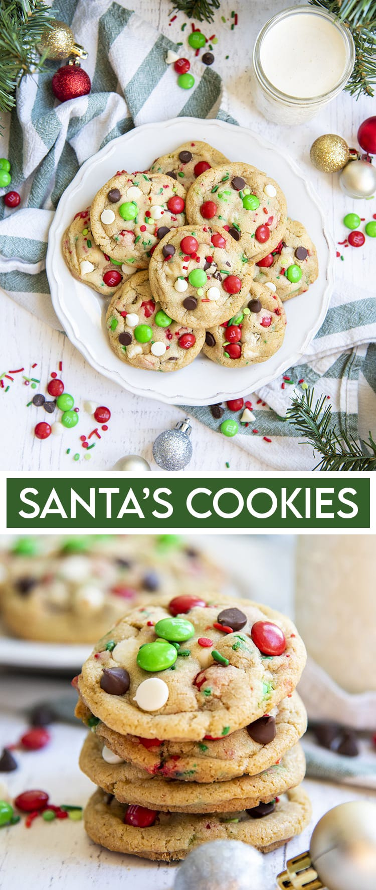 Two photos of Christmas Cookies. The first is a plate of cookies for santa, with white chocolate chips, chocolate chips, and red and green m&ms. The second is a stack of the cookies.