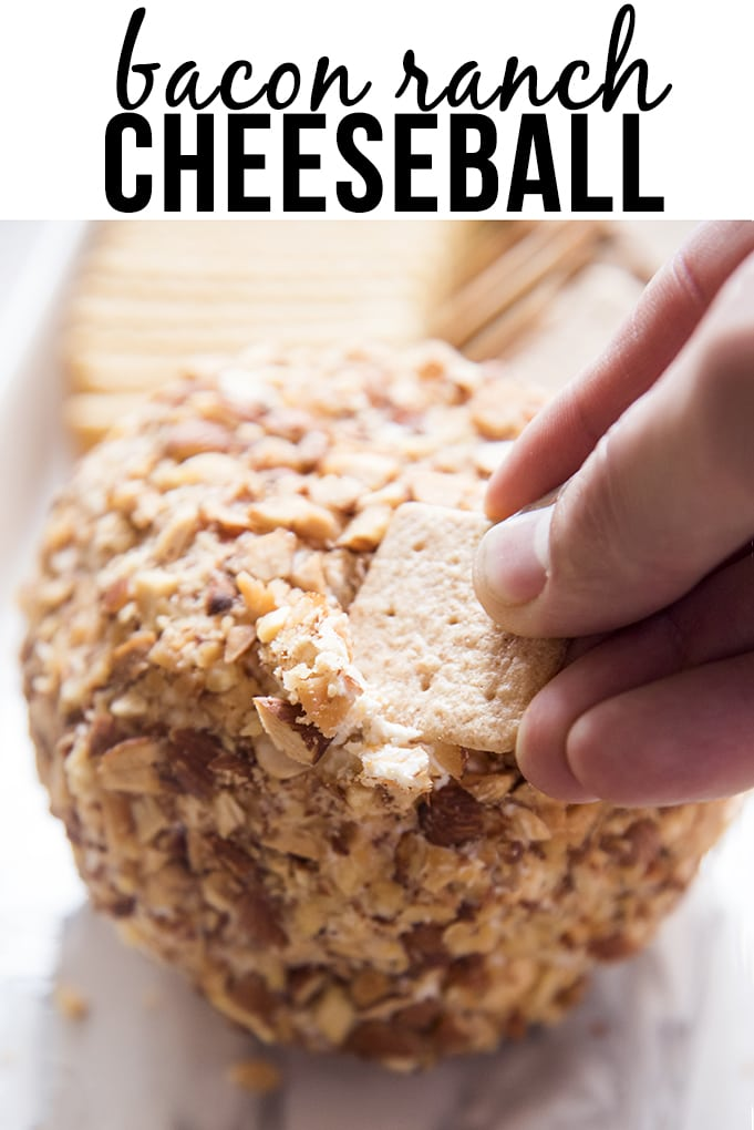 Bacon Ranch Cheeseball is an amazing homemade cheese ball that is easy and delicious, it's a perfect crowd-pleaser, served with your favorite crackers!!