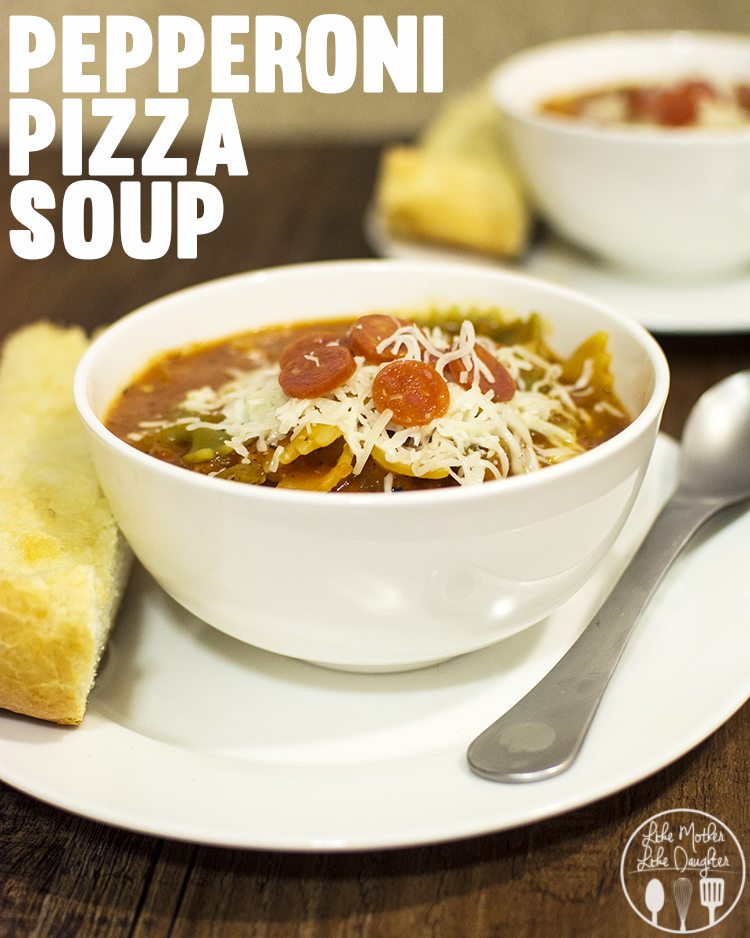 Pepperoni Pizza Soup - a delicious and comforting soup that is easy to make and tastes like you're eating a big bowlfull of pizza!