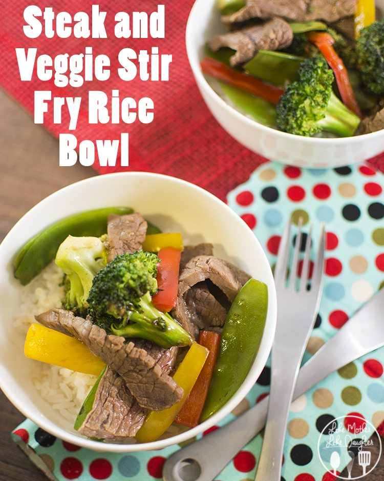 Steak and Veggie Stir Fry Rice Bowl - This delicious stir fry is filled with tender flank steak, broccoli, snow peas and peppers, and topped with a homemade Teriyaki Sauce
