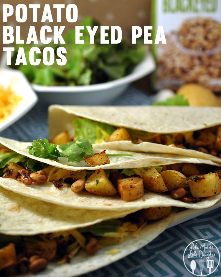 Potato Black Eyed Pea Tacos - delicious and flavorful vegetarian tacos full of potatoes and black eyed peas and topped with a healthy greek yogurt sauce.