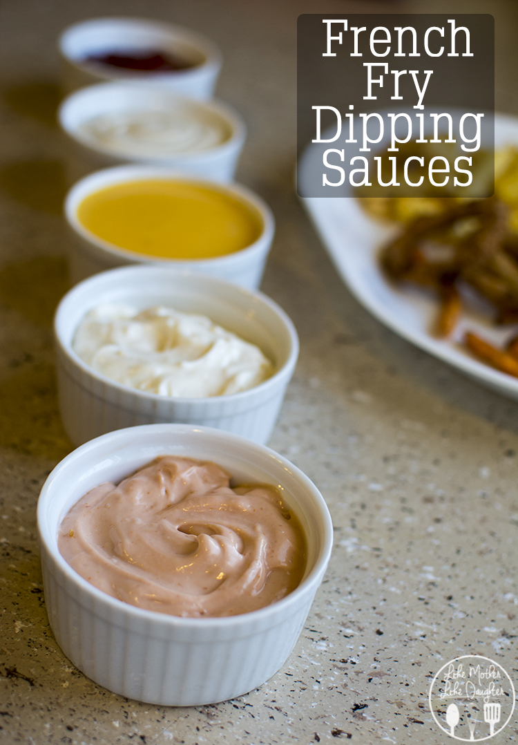 French Fry Dipping Sauces - Three easy homemade french fry dipping sauces, fry sauce, cheese sauce and garlic aioli, perfect for game day
