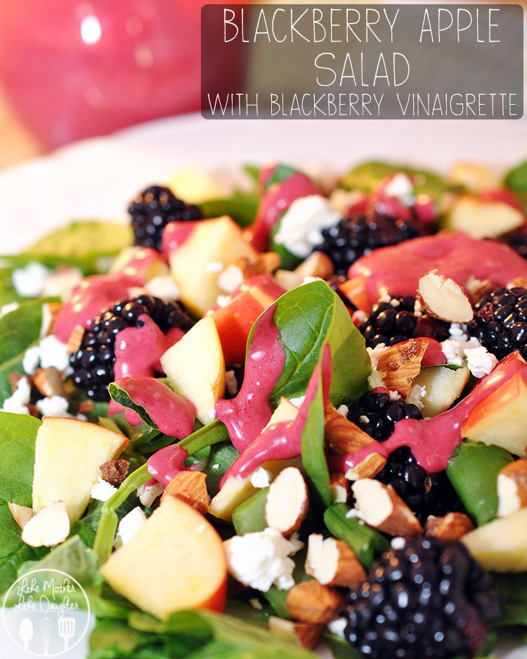 Blackberry Apple Salad with Blackberry Vinaigrette - this gorgeous and healthy salad is full of spinach, blackberries, apples, goat cheese, snap peas, and almonds. All topped with a delicious blackberry vinaigrette.