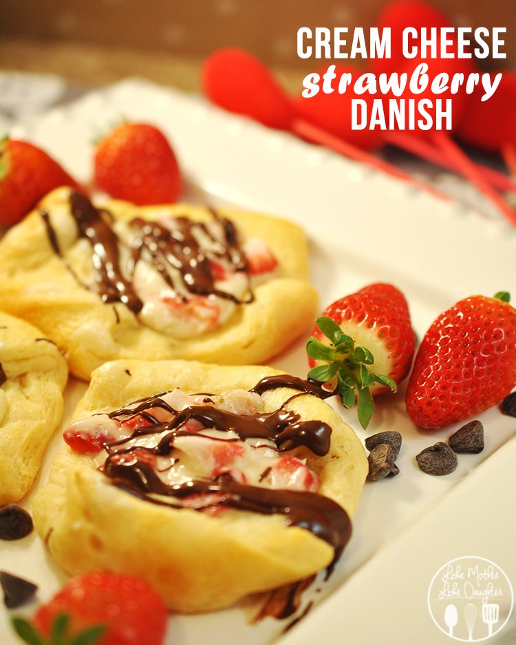 Cream Cheese Strawberry Danish - These simple and delicious danishes are a perfect Valentine's day breakfast or a great treat for a rainy day cuddle up with a good book!