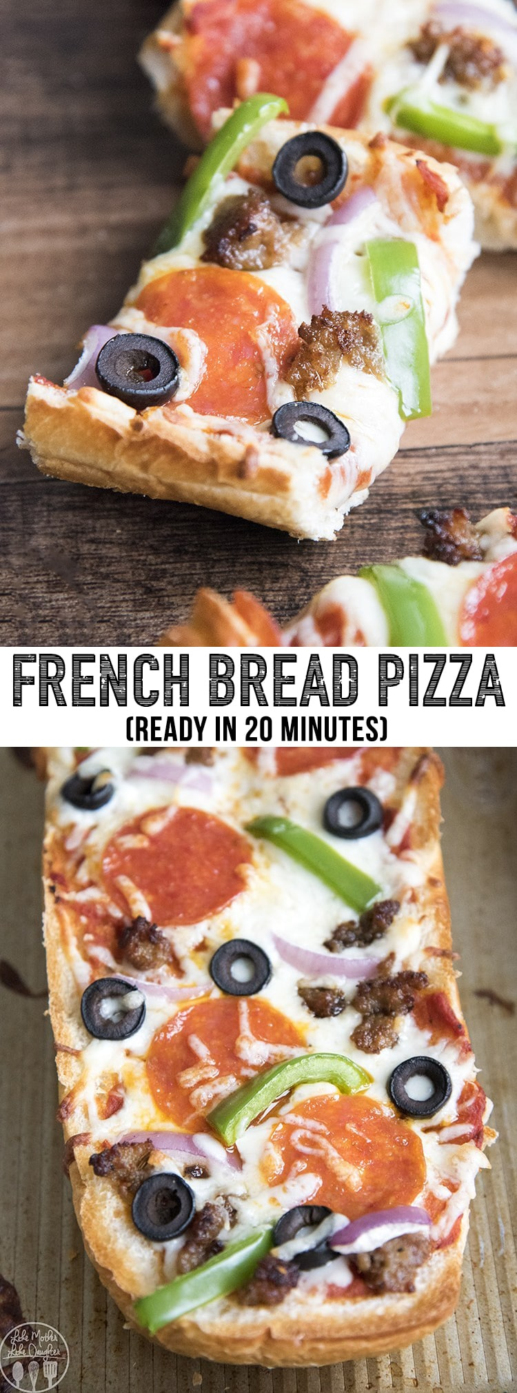 French bread pizza is the perfect way to have homemade pizza in only 20 minutes. With a crusty french bread crust, topped with your favorite pizza toppings #pizza #homemadepizza #easydinner #frenchbreadpizza #recipes #dinnerrecipes #30minutemeal