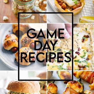 """A collage of game day recipes with a text overlay that says """"Game Day Recipes"""" there is cowboy caviar, a philly cheesteak slider, a ranch popcorn mix, taco cups, pigs in a blanket, cheesy bacon dip, a pulled pork sandwich, jalapeno covered in cheese and wrapped in bacon, green salsa, and chex mix."""
