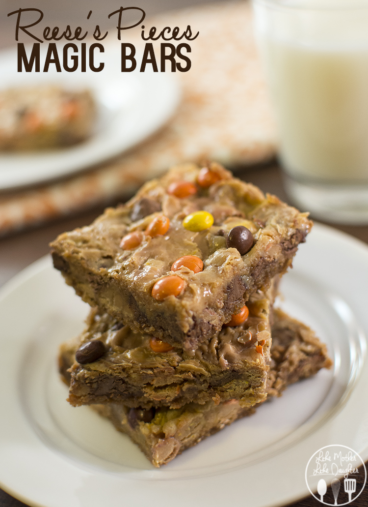 Reeses Piece's Magic Bars - for that great peanut butter and chocolate and magic bar taste all combined into one delicious to die for dessert bar!