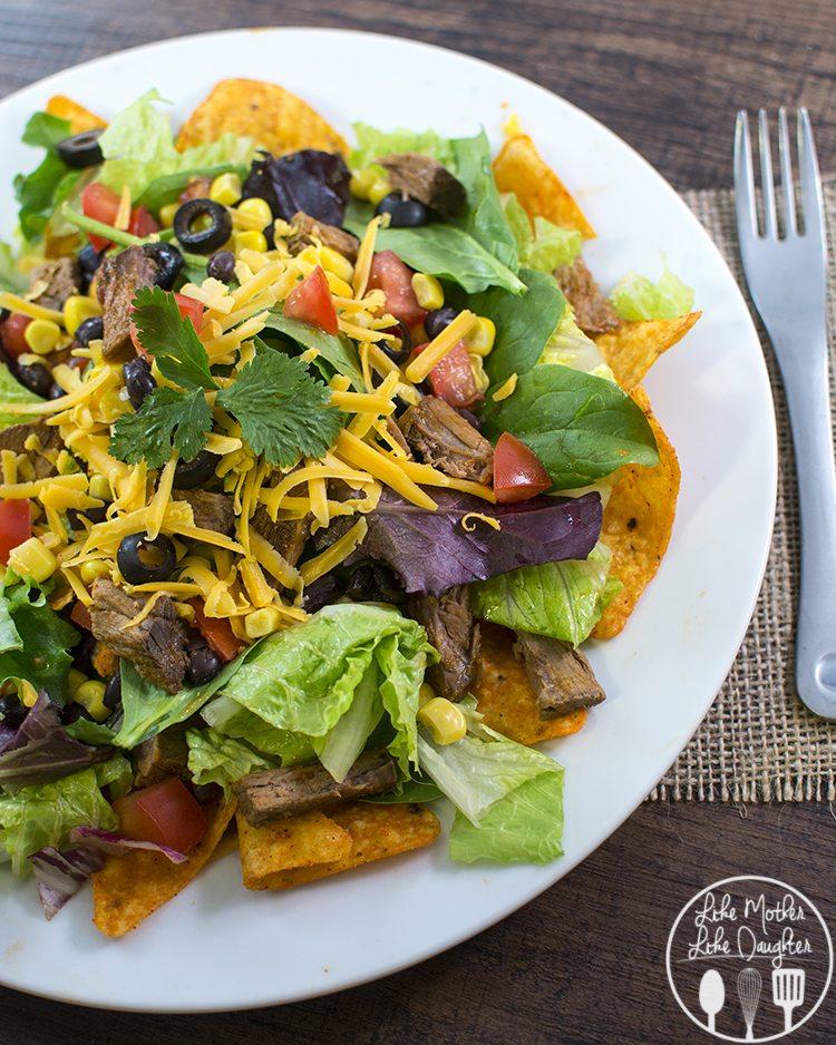 shredded beef taco salad 2
