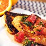 Blood orange salsa salmon, a citrus salsa over honey crusted salmon.