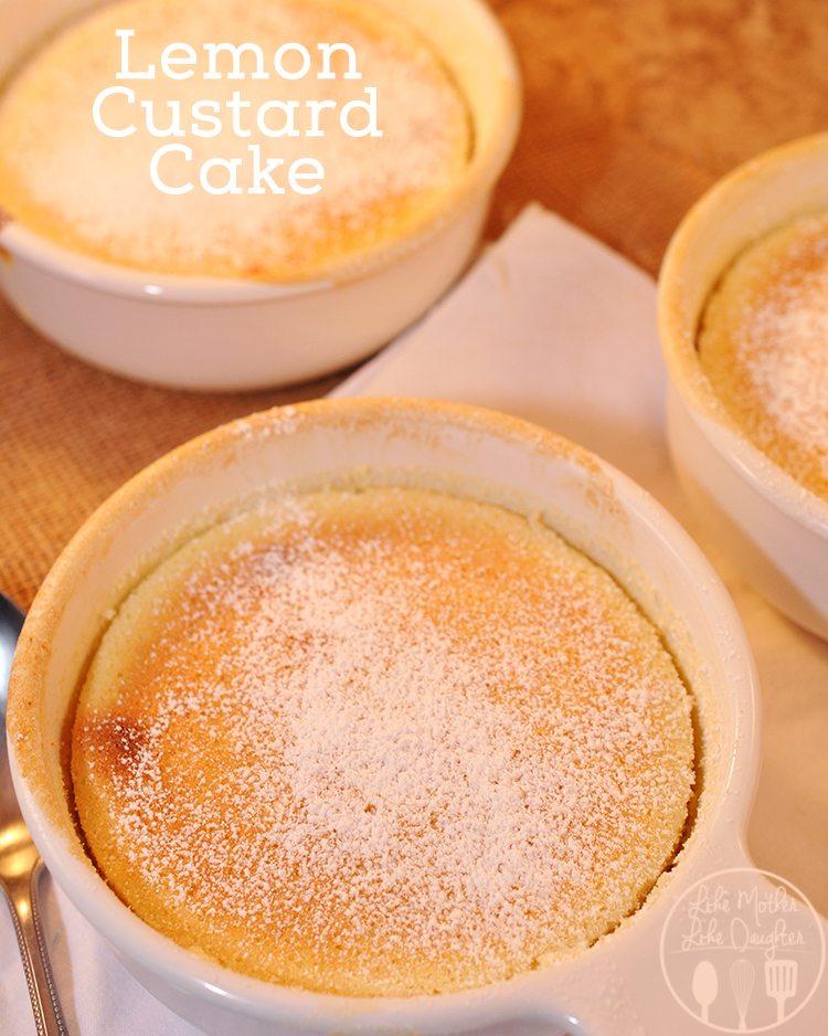 Lemon custard cake with sweet Meyer Lemons for a cake and custard dessert; sweet, tart, lemony, smooth, it will become your favorite