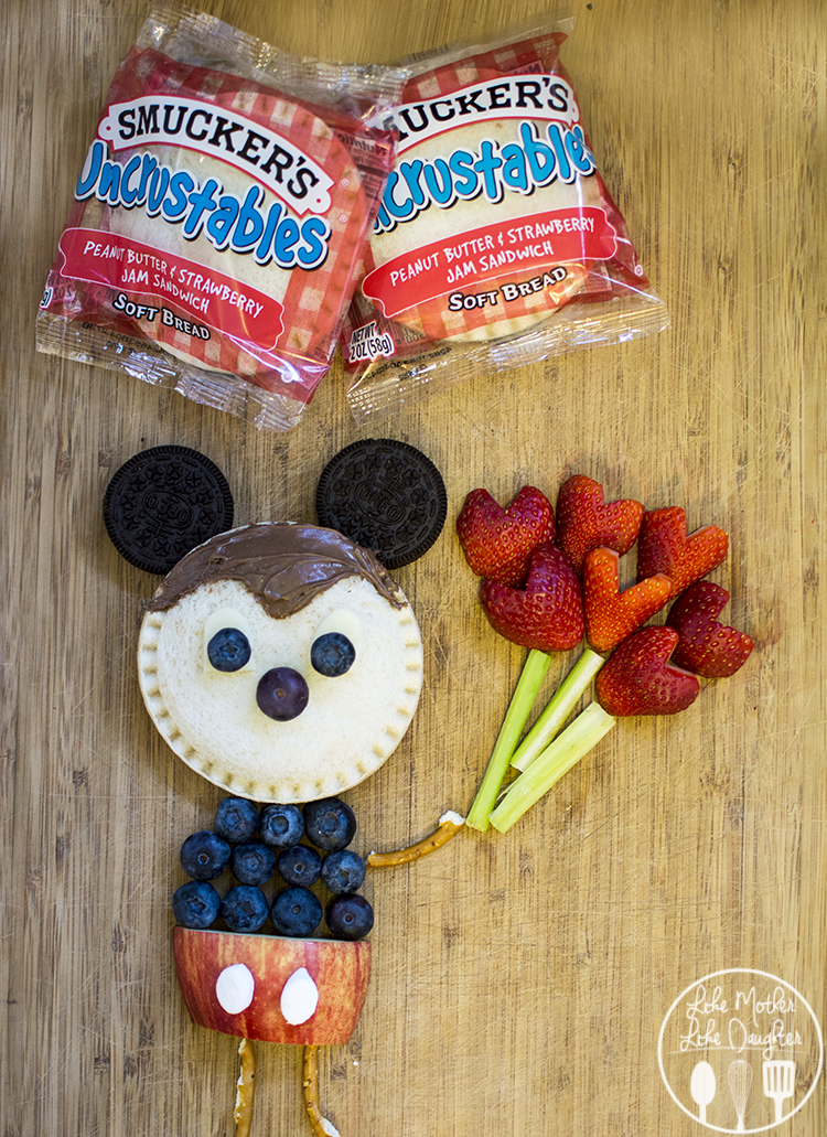 ickey Moust Uncrustables Food Art - Find out how you can make this adorable Mickey Mouse Food Art using Smucker's Uncrustables Sandwiches!