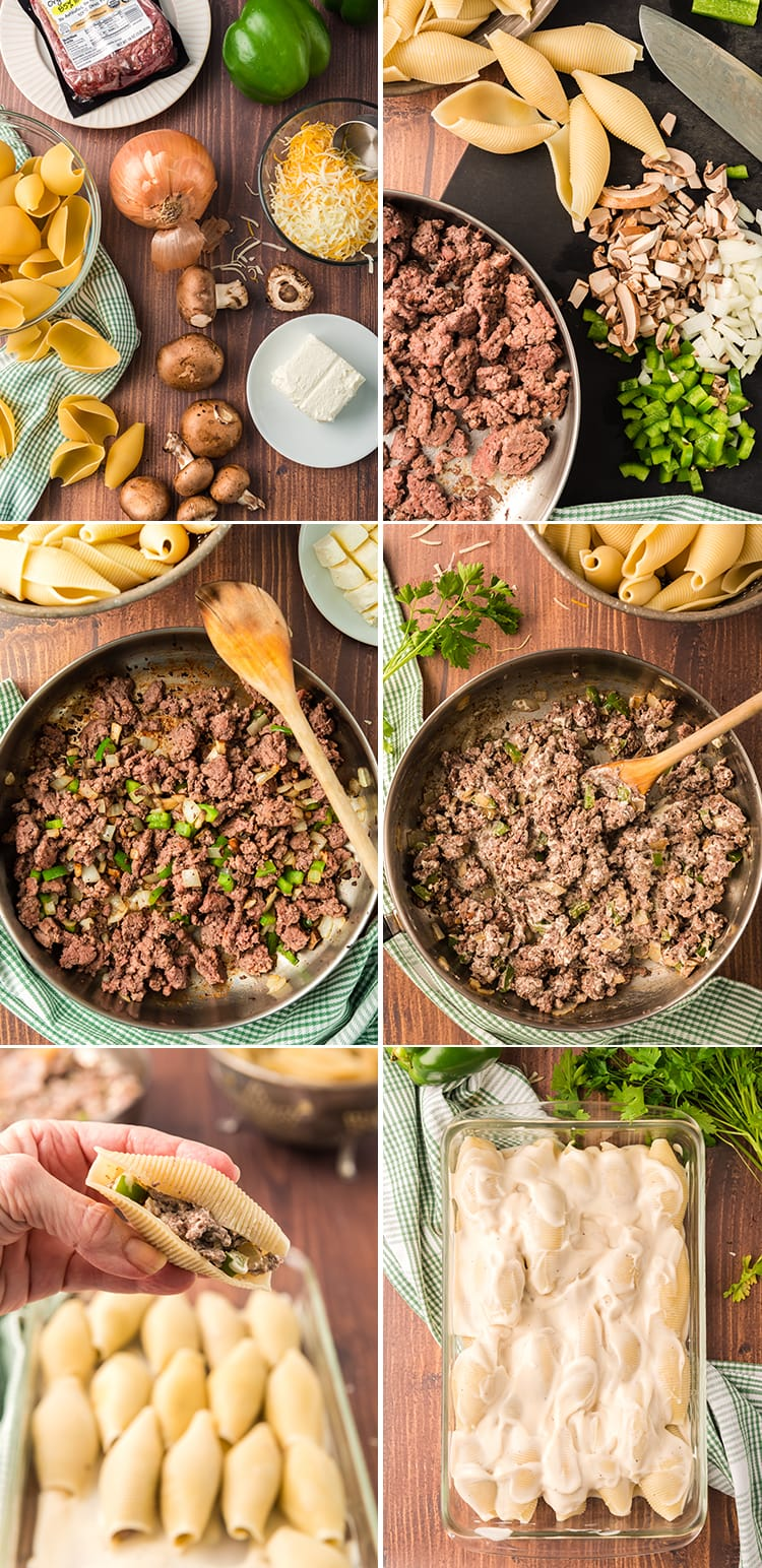 Step by step how to make philly cheese steak stuffed shells