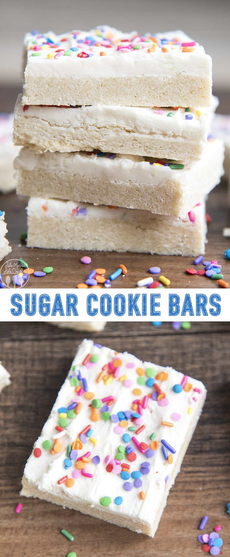 These sugar cookie bars are so much better than traditional sugar cookies. They are rich, thick, and so soft, without any chilling, rolling, or cutting the dough!