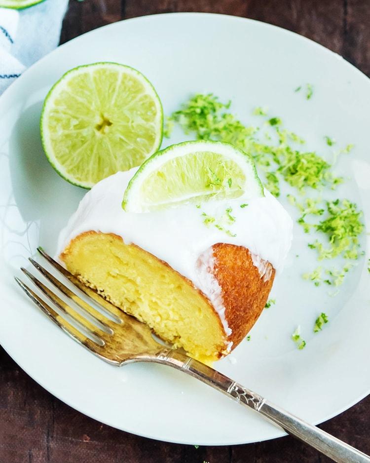 A slice of lime bundt cake