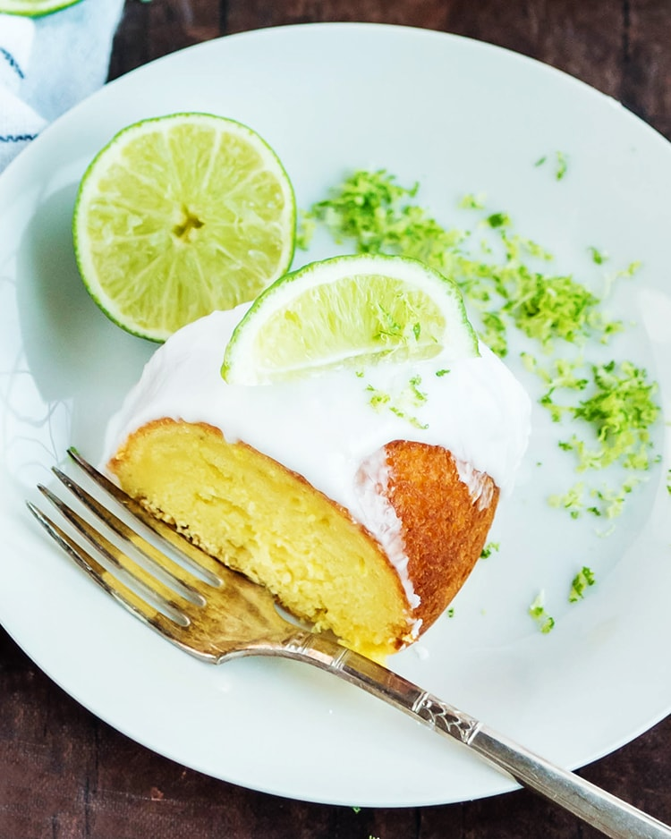 A slice of lime bundt cake