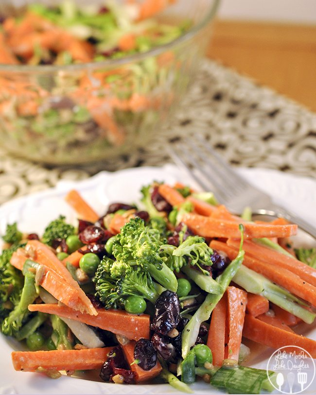 Carrot Broccoli Crunch Salad - Enjoy this Carrot Broccoli Crunch Salad with its tangy, sweet dressing and crunchy, refreshing carrots and broccoli at your next dinner or bbq.