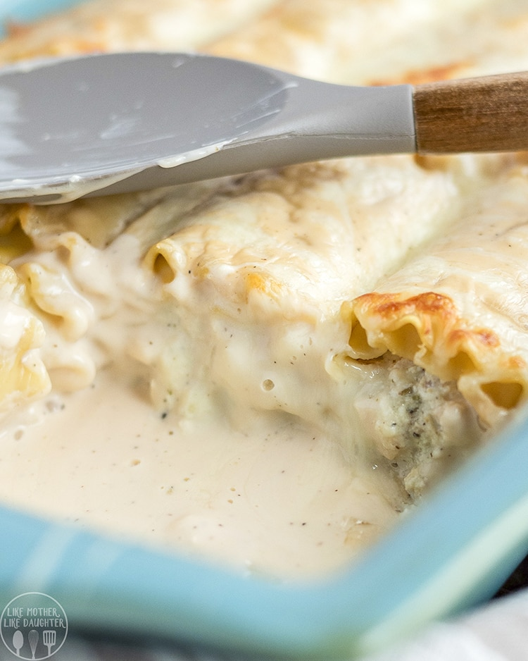 Chicken Alfredo Roll Ups are perfect paired with salad and bread for a delicious dinner