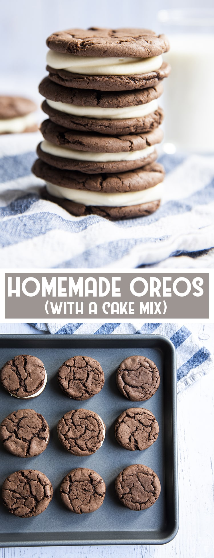 These homemade oreos are so easy to make, starting with a cake mix for the cookie base. They're soft and delicious, filled with a sweet cream cheese frosting in the middle!