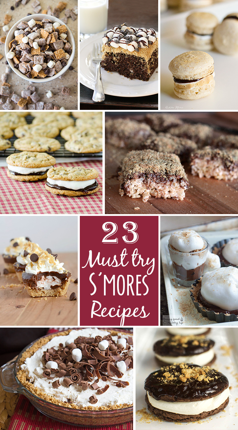 23 Must Try S'mores Recipes - Have delicious s'more treats at home without the mess of a campfire with one of these amazing must try recipes! S'mores muddy buddies, cookies, ice cream and more!