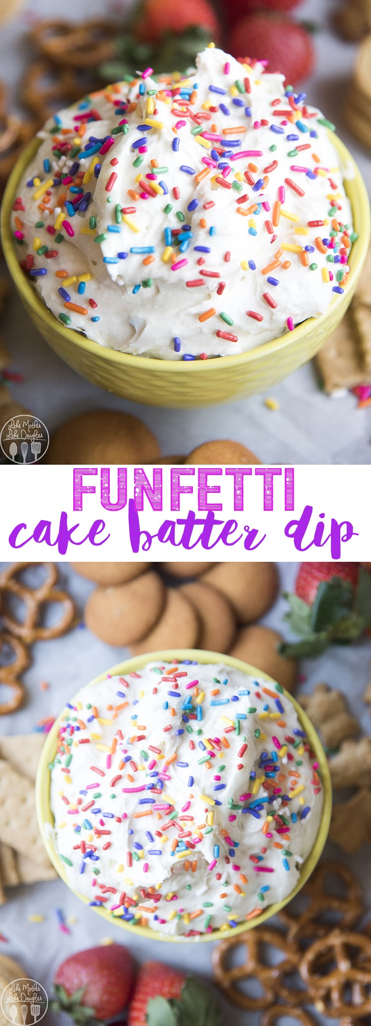This Funfetti Dip is an amazing 4 ingredient dip that is perfect for a party! This dip has the great taste of cake batter and is perfect with pretzels, cookies, or fruit.