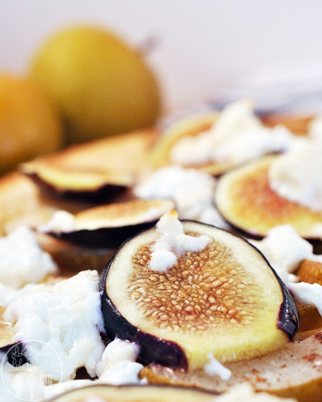 Fig Pear Pizza - This is a simple pizza with fresh figs, fresh pears, and goat cheese drizzled with honey and cinnamon. Perfect for dinner, lunch, or dessert.