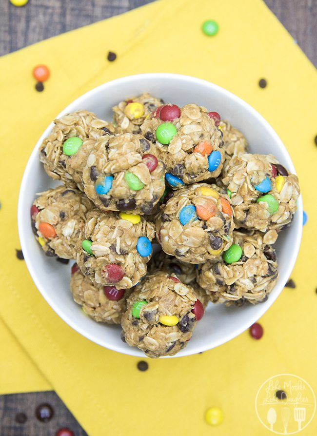 No Bake Monster Cookie Granola Bar Bites - these no bake granola bar bites taste just like monster cookies, without the flour and white sugar. They're perfect for a healthier snack!