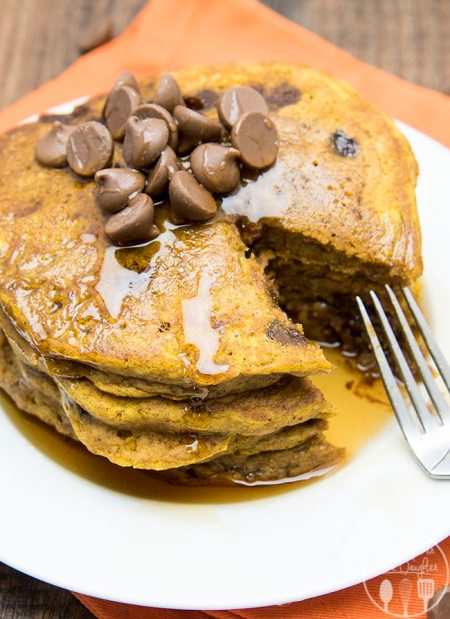 pumpkin chocolate chip pancakes 7