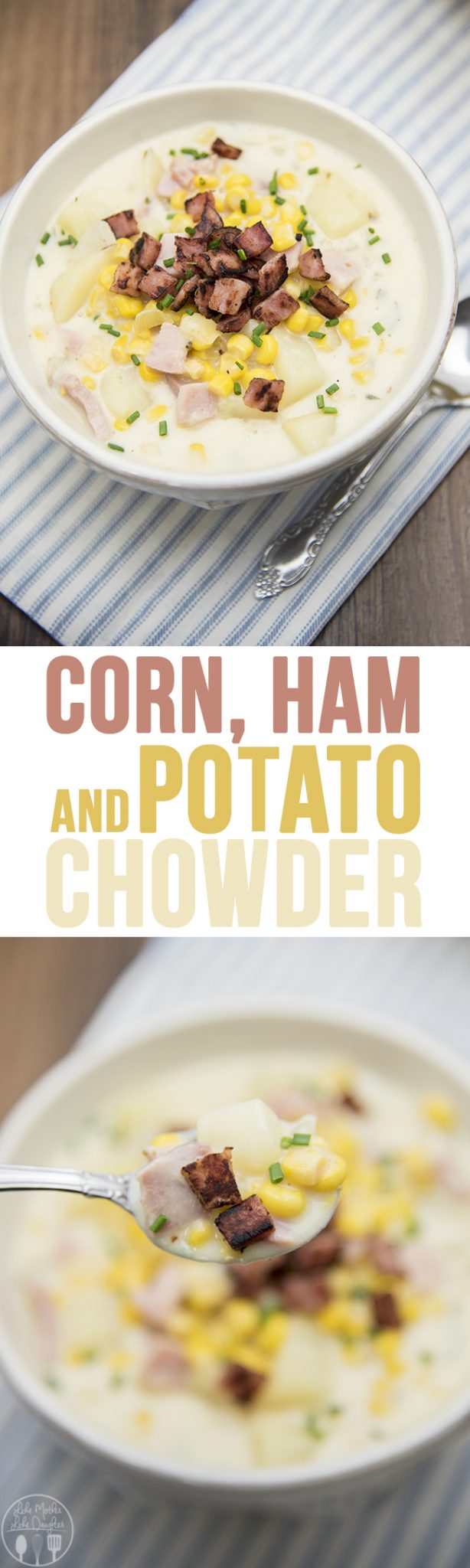 Corn, Ham and Potato Chowder - This creamy and hearty chowder is so delicious, and perfect for this cooler weather! It'll quickly become your new favorite soup this season!