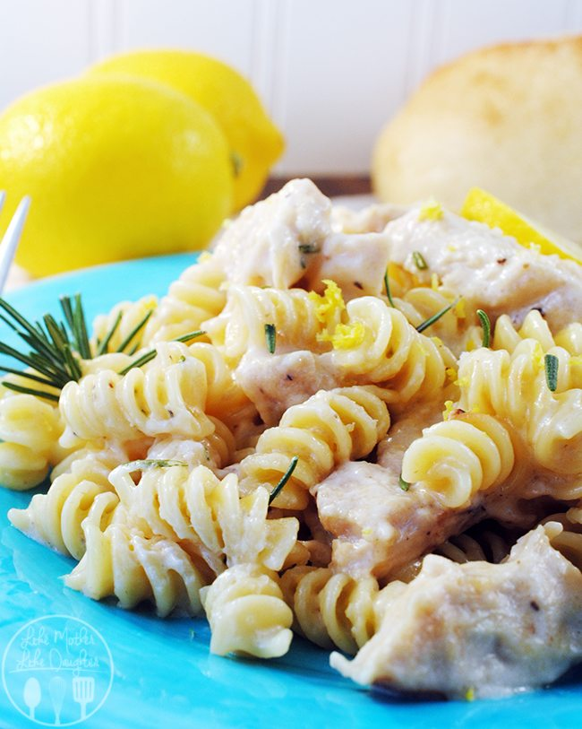 Lemony chicken one pot pasta with no boil pasta and frozen grilled chicken strips, adding a fresh creamy lemon rosemary sauce for family dinner ease
