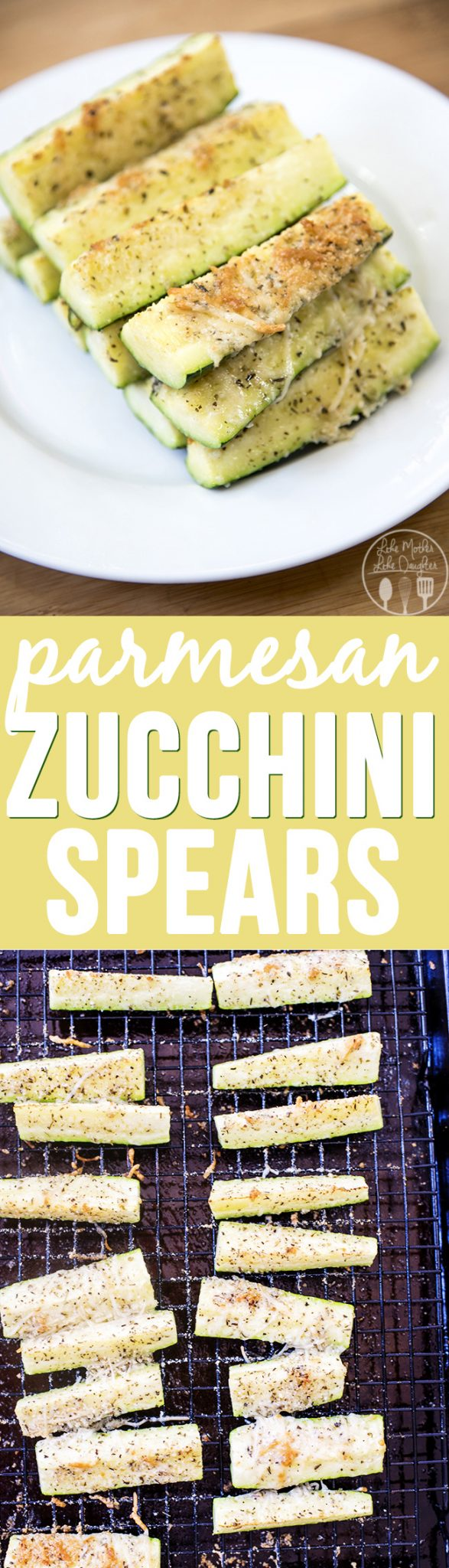Parmesan Zucchini Spears - tender zucchini sticks, topped with a crispy parmesan cheese mixture. For a perfect, healthy side dish that you'll want to eat with everything!