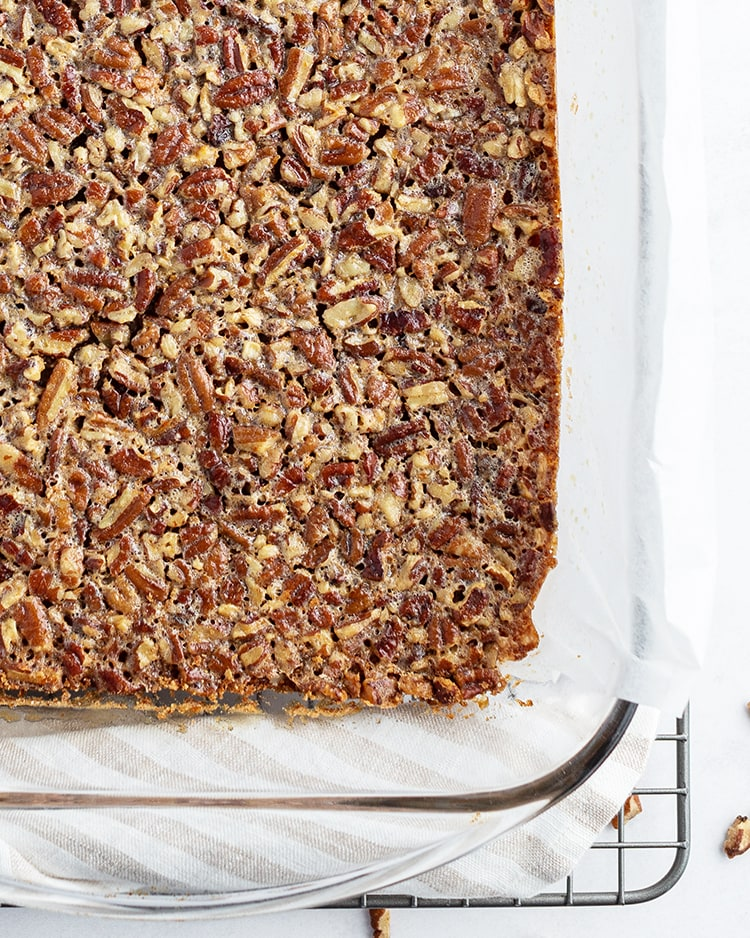 Pecan Pie Bars in a pan