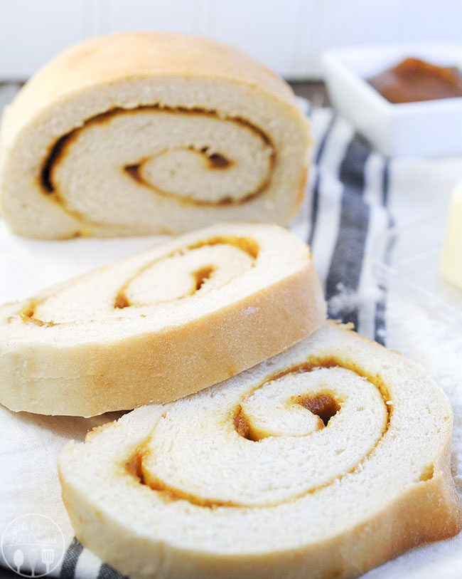 Pumpkin Butter Swirl Bread - sweet pumpkin butter baked right in your bread, making this bread delicious and ready to eat fresh baked from the oven.