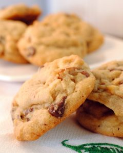 These butter pecan chocolate chip cookies are homemade, hand stirred, made from scratch home cooking for those you love. Buttery, chocolaty, orange cookies.
