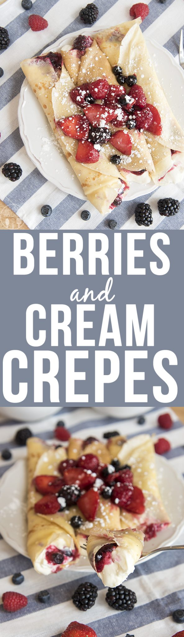 Berries and cream crepes are filled with a cheesecake like filling, and sweet juicy berries for a decadent breakfast or dessert.
