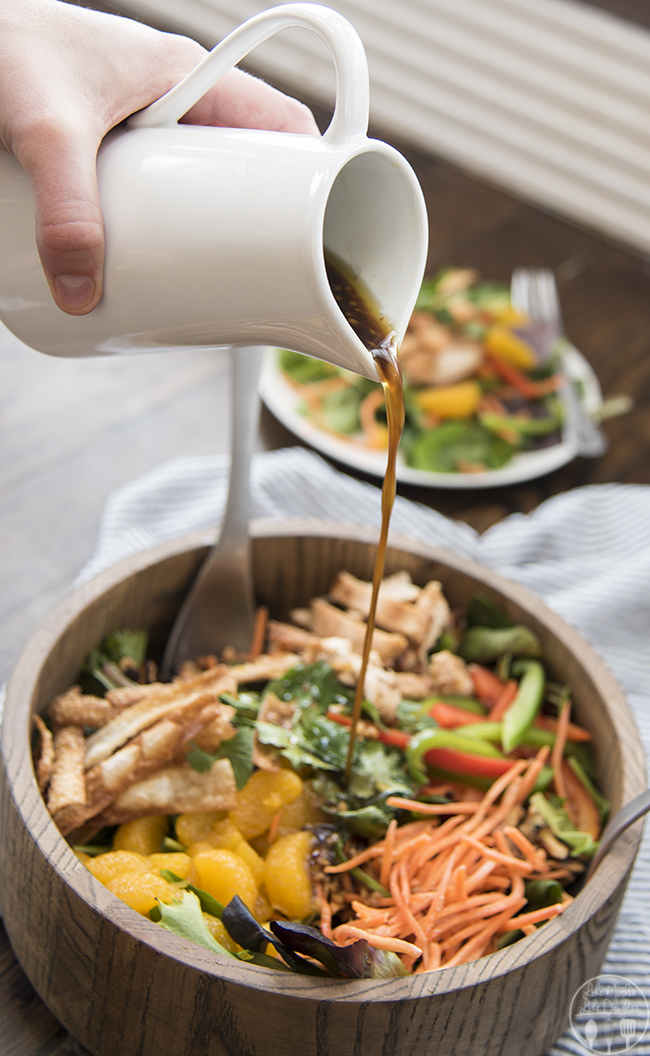 Oriental Chicken Salad - This amazing oriental chicken salad is packed full of spring mix lettuce, grilled marinated chicken, mandarin oranges, sliced bell peppers, toasted cashews, cilantro, and crispy wontons all topped with a delicious honey ginger soy dressing! This salad will quickly become your new favorite!